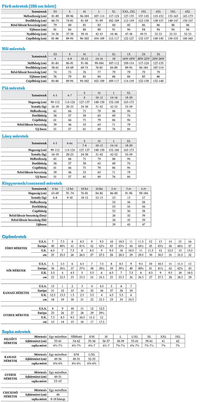 Columbia mérettáblázat Nomád Sport Outdoor Webáruház