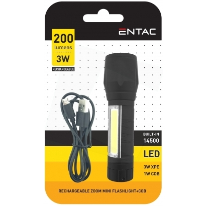 Entac Mini 3W+COB USB (EMFL-3W-COB-R) elemlámpa