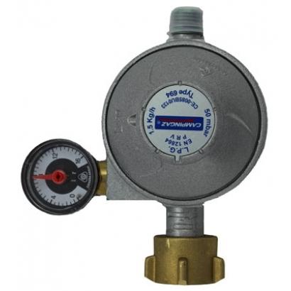 Campingaz nyomás szabályozó 50 mbar, 1,5 Kg/h, nyomásmérővel